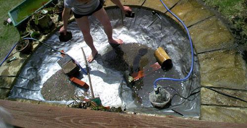 池の大掃除 クチャイヘドロとか朽ちた葉っぱとか結構汚れてました 大仕事ですヘ(´o`)ヘ チカレタ…