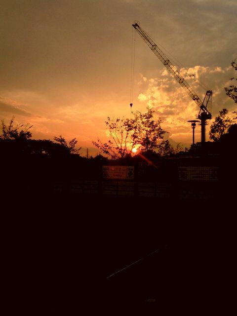 現場の夕日