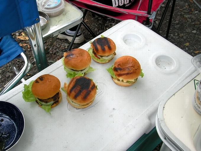 ハンバーガー焼けた