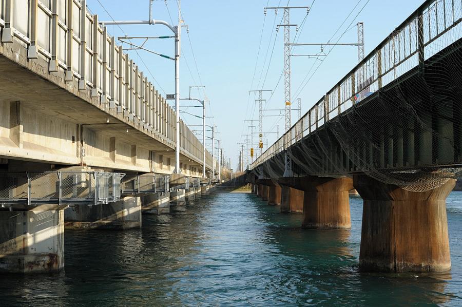 東海道新幹線と東海道本線