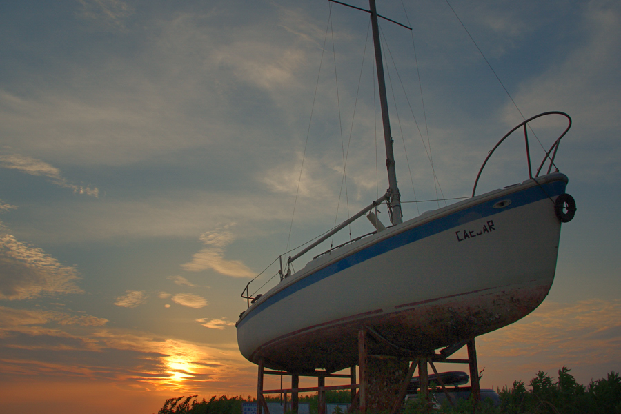 マリーナの夕陽