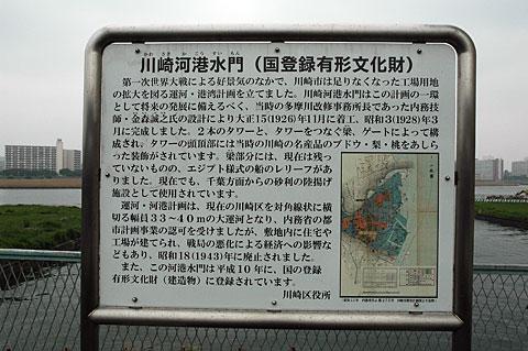 川崎河港水門説明板