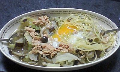 コンソメショウガ風味のスープパスタ