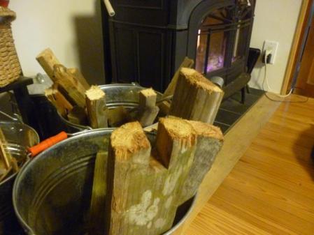 ストーブの廃材薪