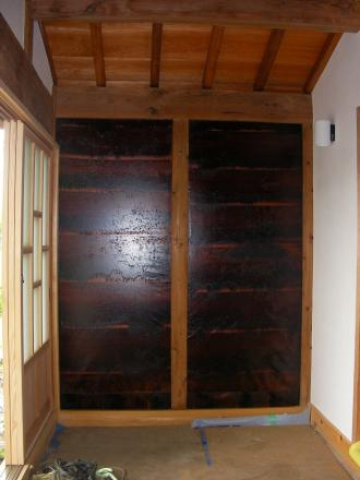 玄関の和紙 完成