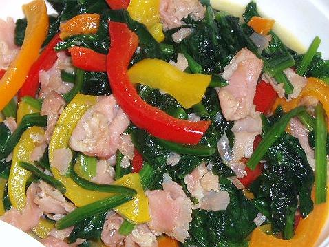 2009114お野菜と生ハム炒め
