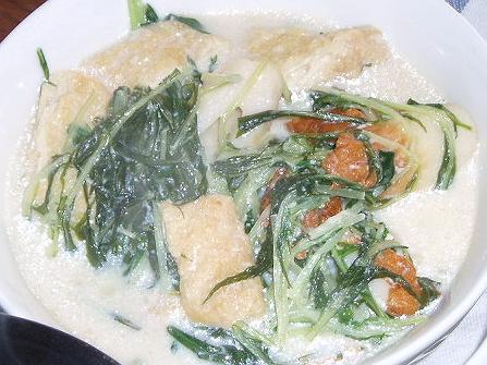 20090218水菜とお揚げさんの豆乳煮