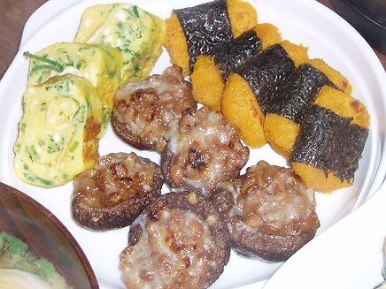 20090404かぼちゃ餅+卵焼き+椎茸納豆焼き