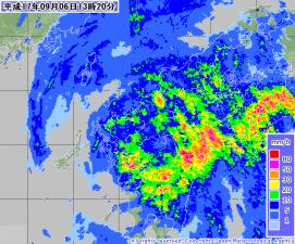 台風14号・降水レーダー