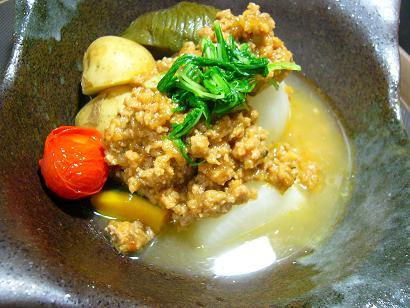 季節の野菜の肉味噌1 (1)