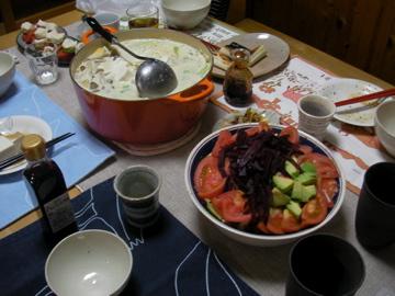 サラダと豆乳鍋