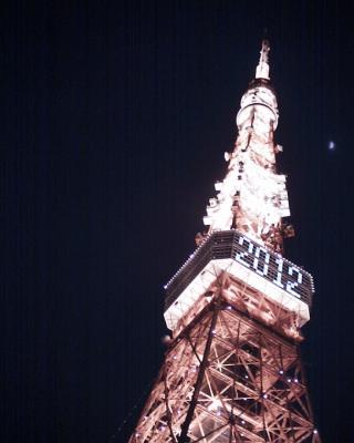 東京タワーと上弦の月20120101:R2