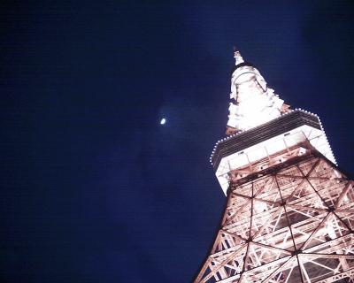 東京タワーと上弦の月20120131:R2