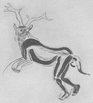 鹿の扮装をして踊る魔術師