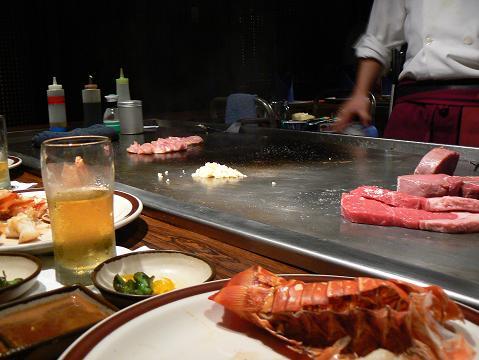 '08ハワイ 0628田中オブ東京:ロブスター、ステーキ2種