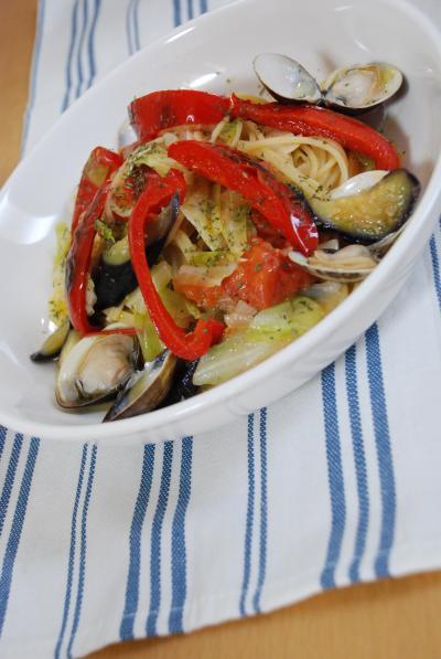 夏野菜とハマグリのスパゲティ