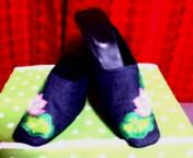 蓮刺繍 デニムミュール1