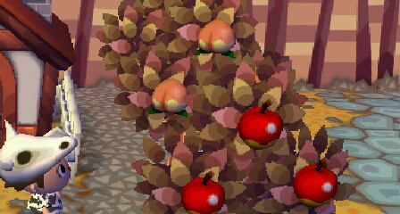 桃とりんごの木