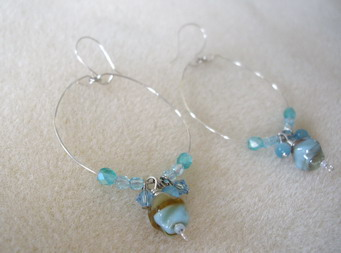 aqua color hoop earring