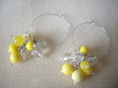 Yellow dangle hoop earring