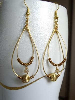 gold color tear drop hoop earrings