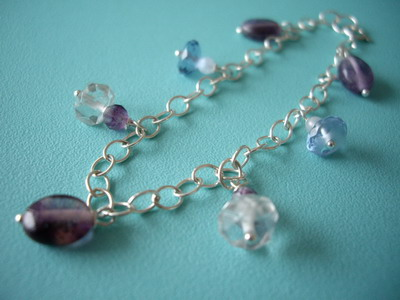 Gem stones and sterling silver charm bracelet