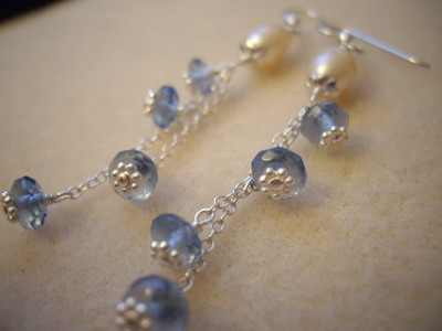 Pearly rain sterling silver earrings