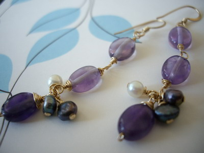 Amethyst trio earrings