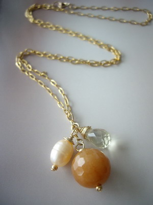 Three charm gold filled necklace red aventurine