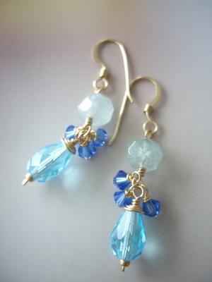 blue lagoon gold filled earrings