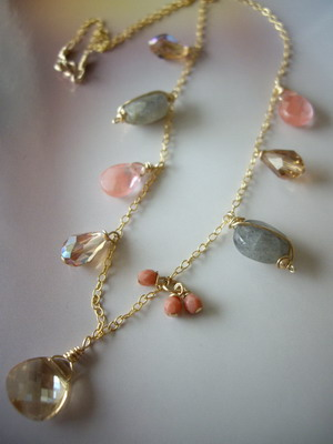 Sweer dangle gathering gold filled necklace
