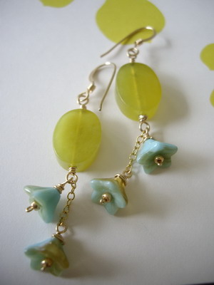 Olive jade and bell flowers gold filled earrings