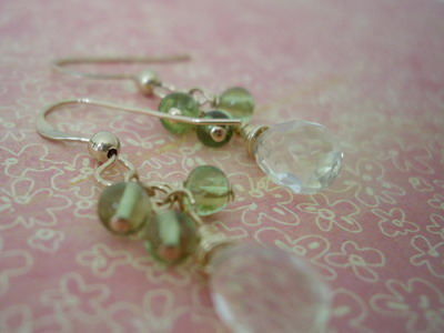 Peridot and lemon quartz dangle gold filled earrings