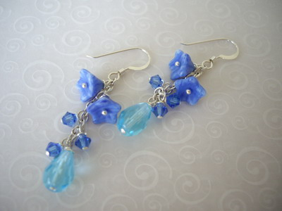 blue bell flower earrings