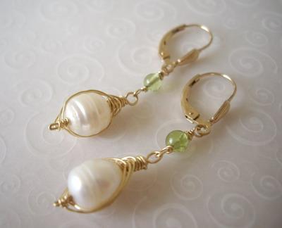 pearl&peridot earrings