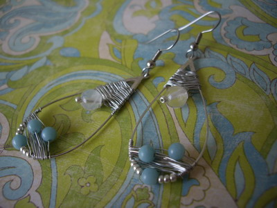 frame wire wrapped earrings