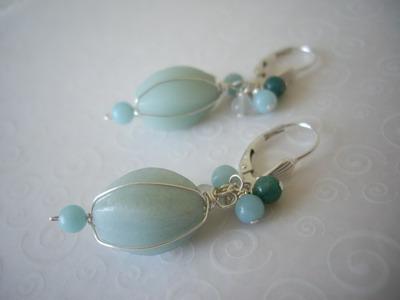 cluster top amazonite earrings