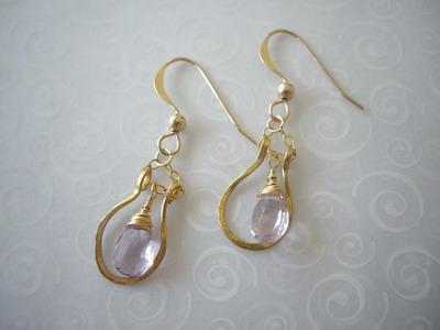 horseshoe earrings pink amethyst