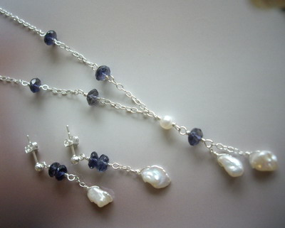 iolite earrings and necklace