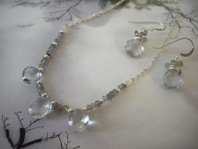 swiss blue quartz necklace and earrings