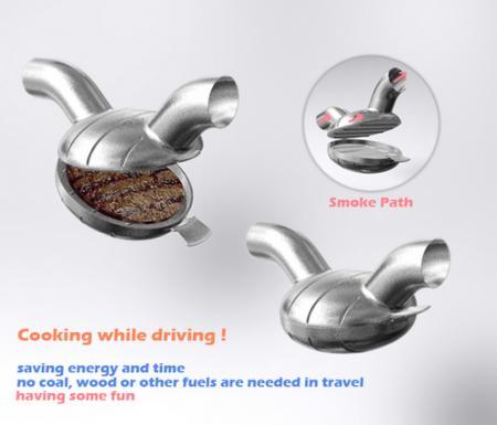 車の排気ガスで料理(肉を焼く、など)22