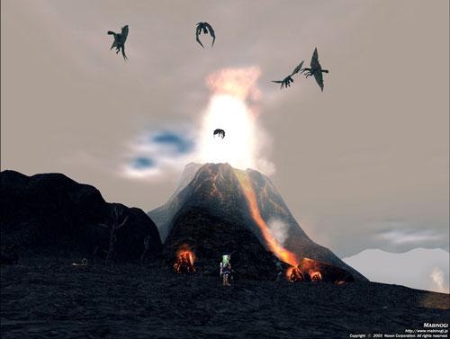 火山とワイバーン