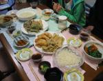 今夜の夕食 ひやむぎ 天麩羅 煮物