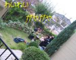 お庭でお茶会 おちびと友達