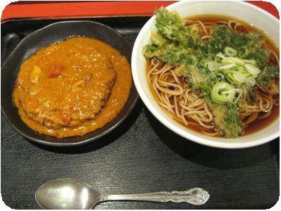 春菊そば+揚げたまご飯