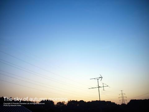 朝陽が昇る直前の秋晴れの空