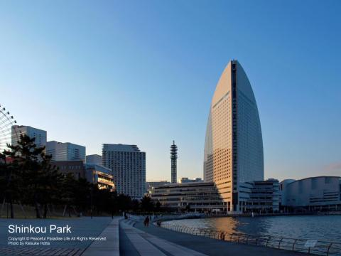 新港パークからヨコハマ グランド インターコンチネンタルホテルを望む